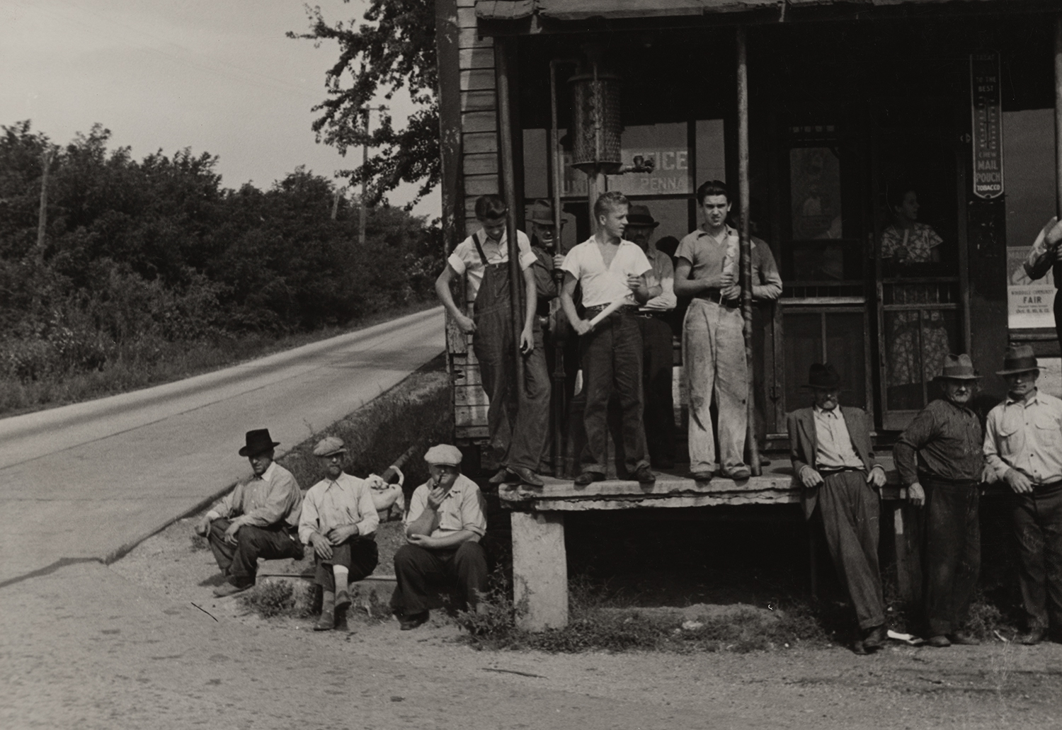 Prospective homesteaders, in front of post office at United, Westmoreland County, Pennsylvania, 1935.