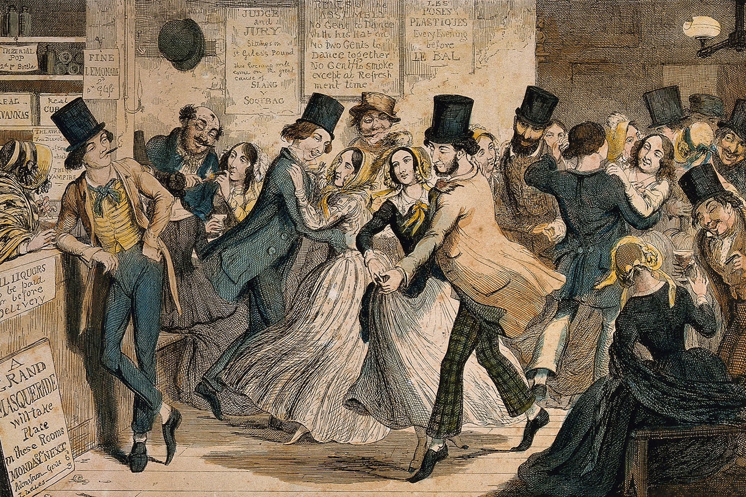 A drunken scene in a dancing hall with a sly customer eyeing a young girl. Coloured etching by George Cruikshank, 1848.