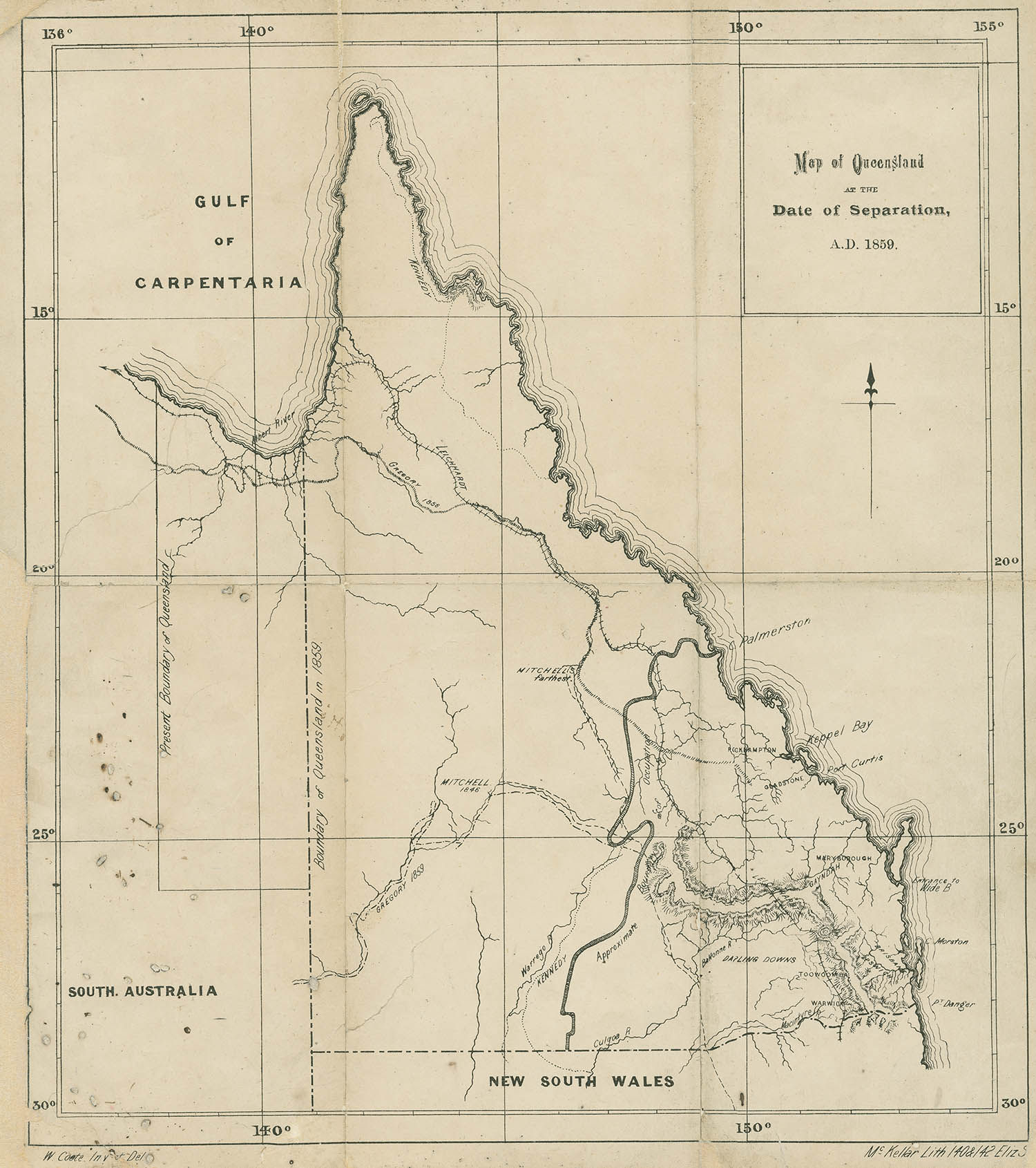 Map of Queensland, 1859.