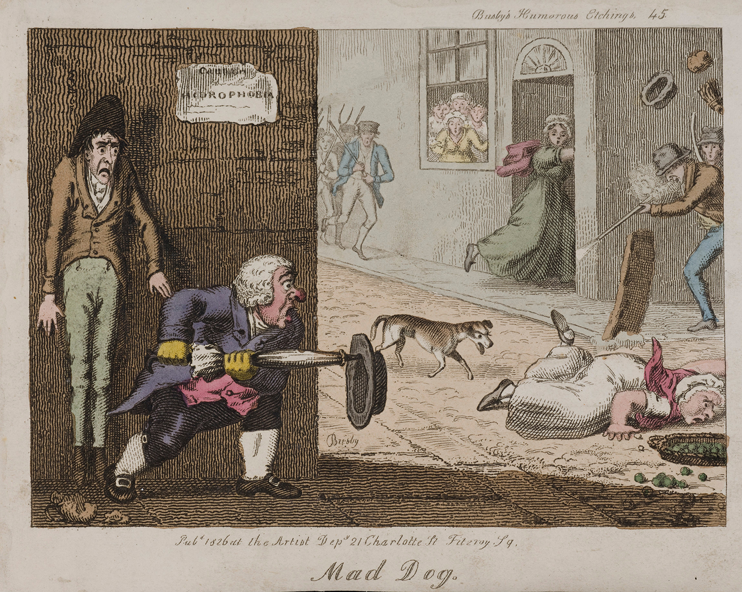 A mad dog on the run in a London street, T.L. Busby, 1826.