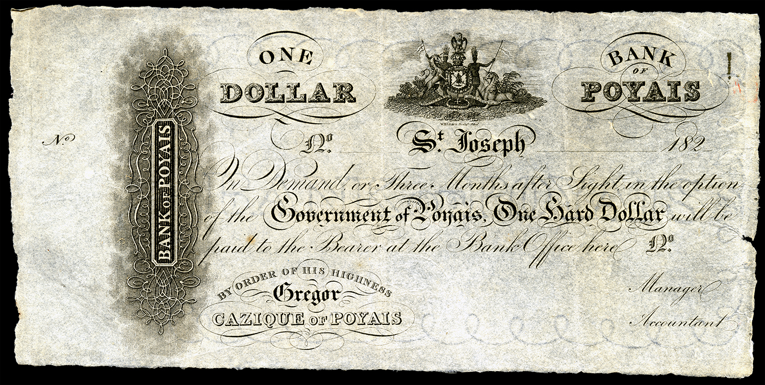 A Bank of Poyais dollar, printed in Scotland.