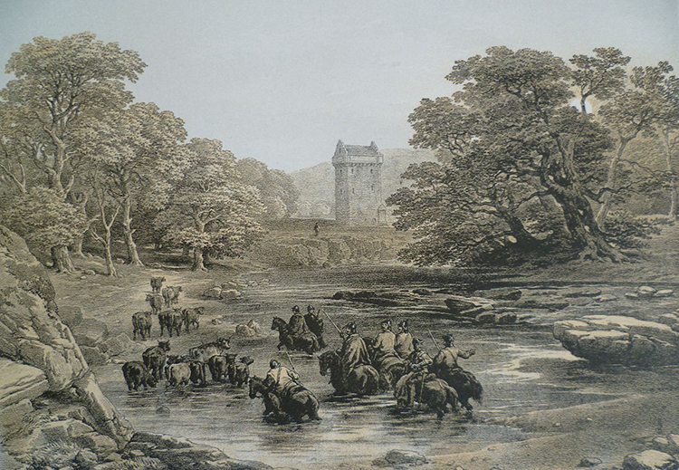Border reivers at Gilnockie Tower, from a drawing by G. Cattermole, 19th century.