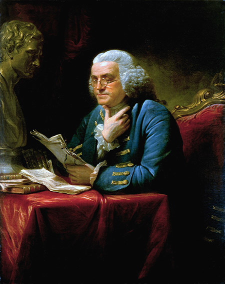 Benjamin Franklin, portrait by David Martin, 1767. Ⓒ akg-images.