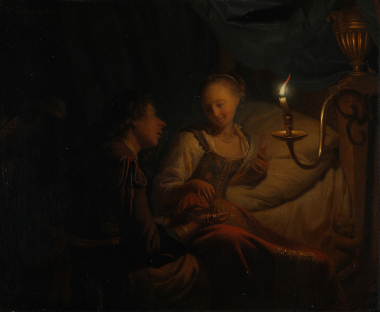 A Man Offering Gold and Coins to a Girl, Godfried Schalcken, c.1665-70.