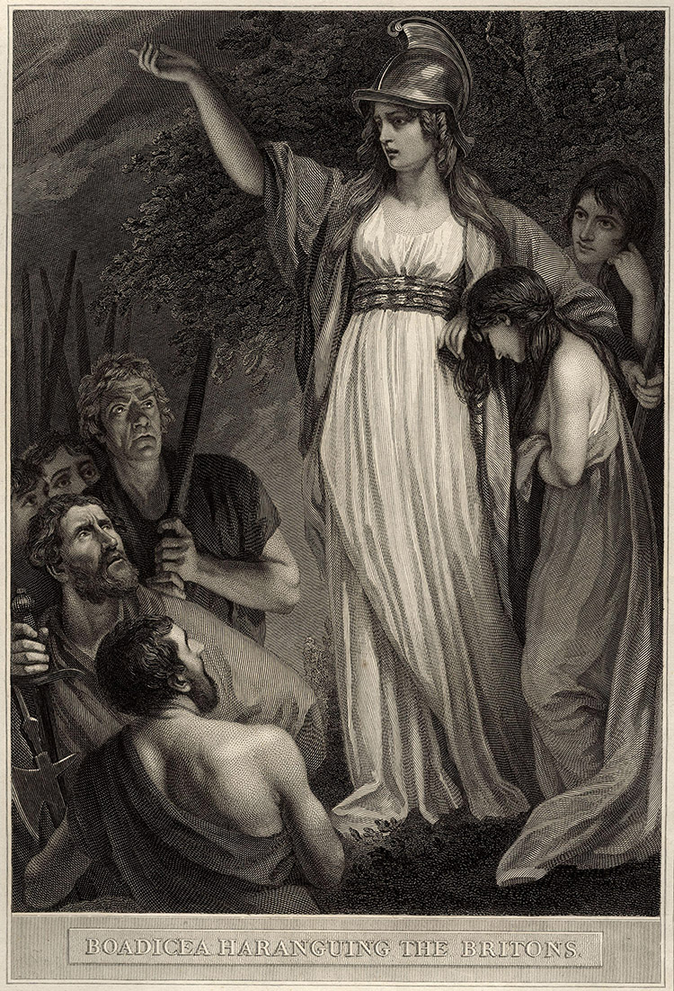 Boadicea Haranguing the Britons by John Opie, engraving by William Sharp, 1793.