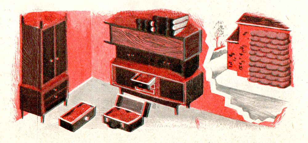 A typical fallout room, as depicted in the Advising the Householder booklet.