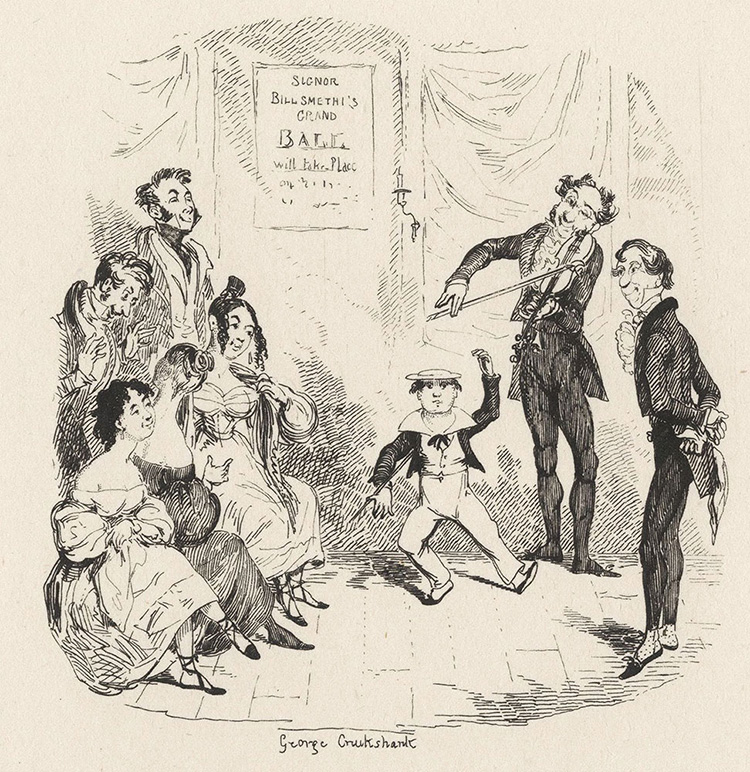 The Dancing Academy from Illustrations to Sketches by Boz, George Cruikshank, 1835-6.