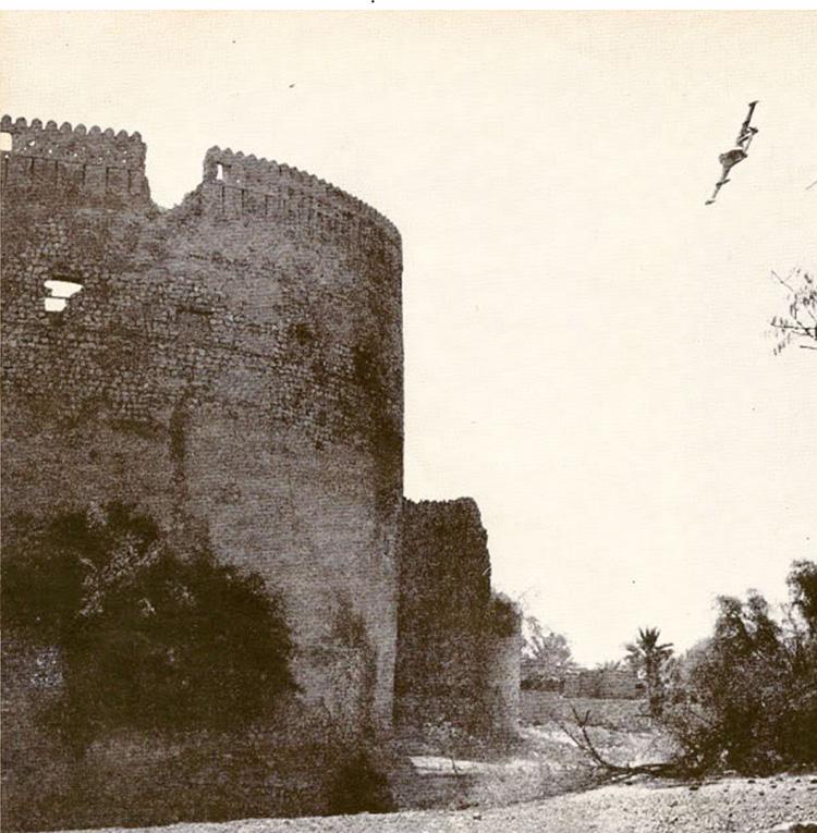 British plane attacking Nizwa Fort during the Jebel Akhdar War, 1958.