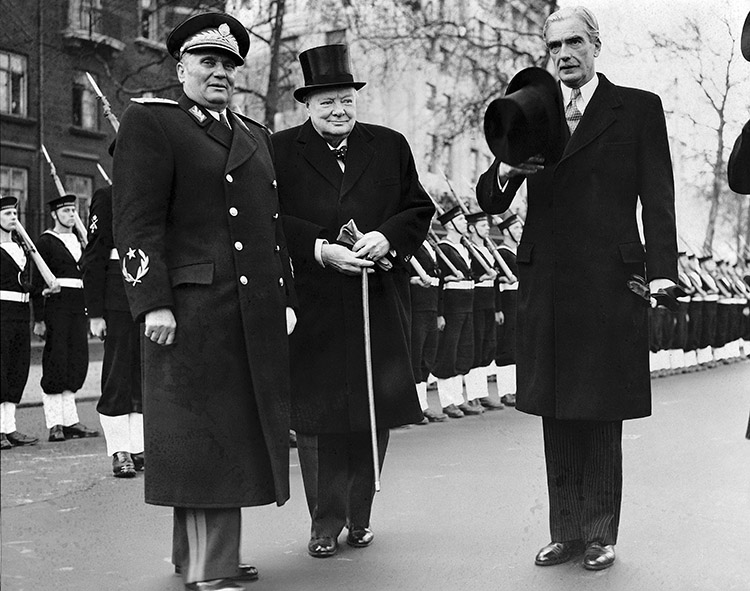 Tito is welcomed on a state visit to London by Prime Minister Winston Churchill and Foreign Secretary Anthony  Eden, March 1953.  © Bettmann/Getty Images