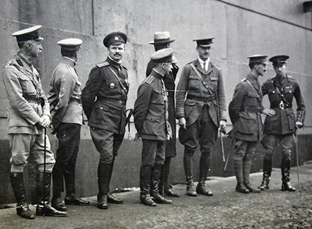 Steveni (far right)  with Major General Sir Alfred Knox (third from right) in what is thought  to be Poland, 1917.