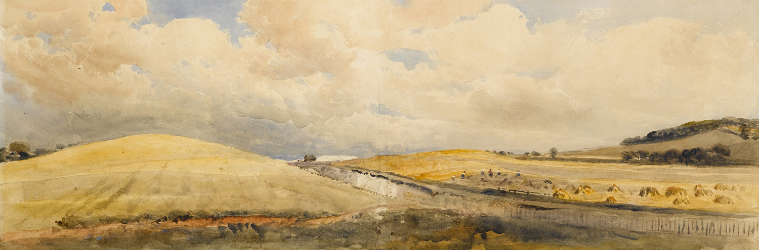 Cornfields near Tring Station, Hertfordshire, by Peter De Wint, 1847.