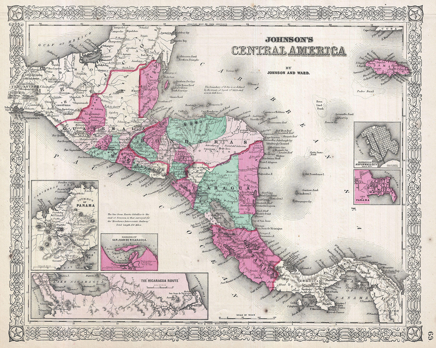 Johnson's Central America, 1864. The Mosquito Coast roughly corresponds with the eastern coast of Nicaragua, starting in southern Honduras.