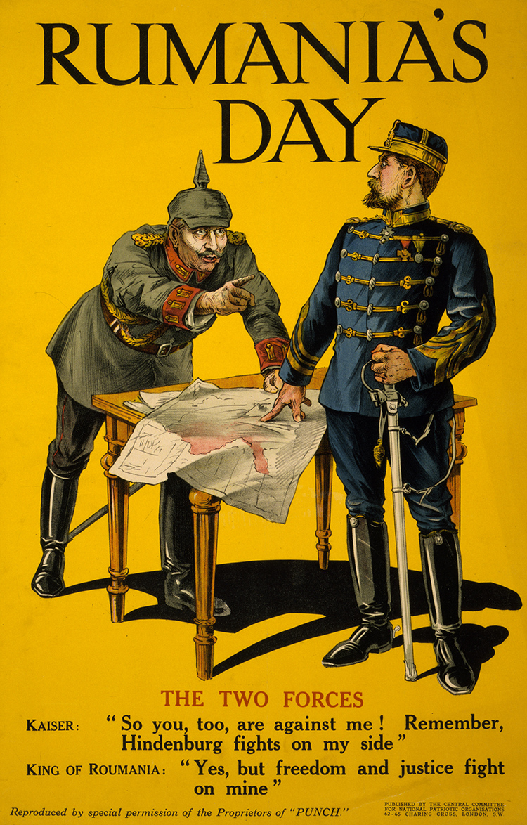 British propaganda poster welcoming Romania's decision to join the Entente.