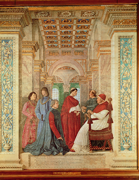 Pope Sixtus IV installs Bartolommeo Platina as Director of the Vatican Library, Melozzo da Forli, c.1477.  Raffaele Riario is the figure standing to the right of the pope. © Bridgeman Images.