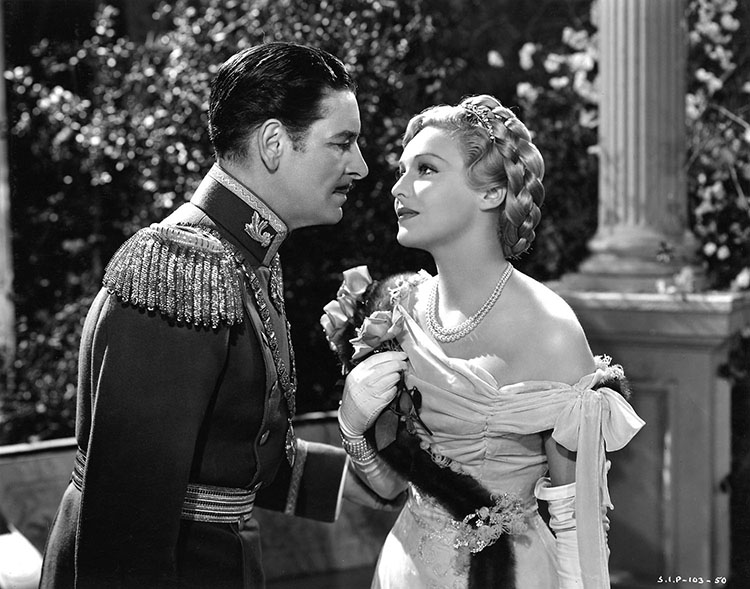 Ronald Colman and Madeleine Carroll in The Prisoner of Zenda, 1937.