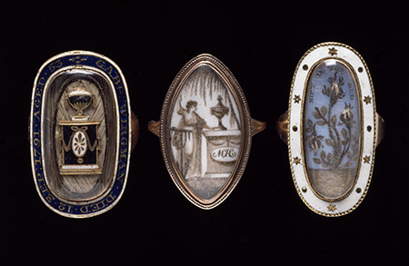 18th-century mourning rings. Victoria and Albert Museum, London