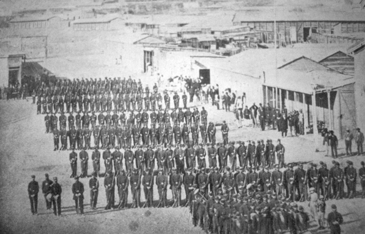 The Chilean Army in the Plaza Colón, Antofagasta, 1879.