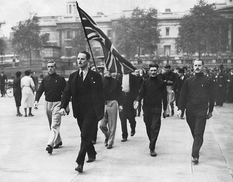 Oswald Mosley leading British Union of Fascists members before a rally in Trafalgar Square, London, 1934