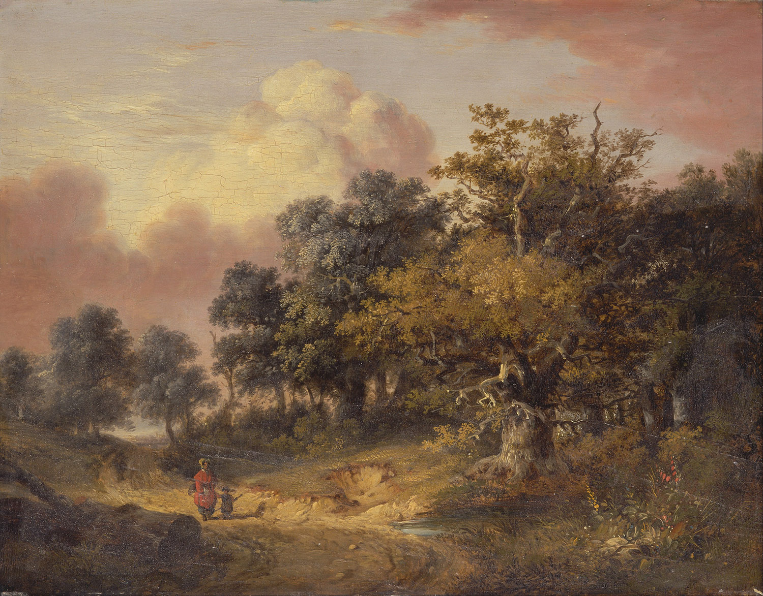 Wooded Landscape with Woman and Child Walking Down a Road, Robert Ladbrooke, c.1820.