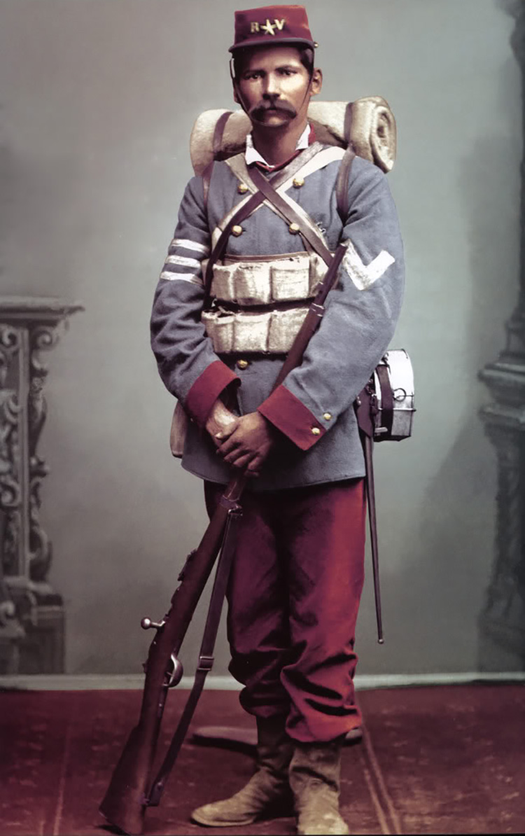 Chilean soldier in typical uniform, 19th century.