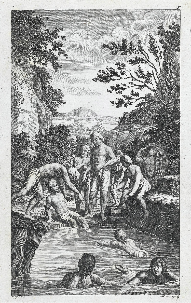 Boys swimming outdoors from Johann Guts Muths' Gymnastik für die Jugend, 1793.
