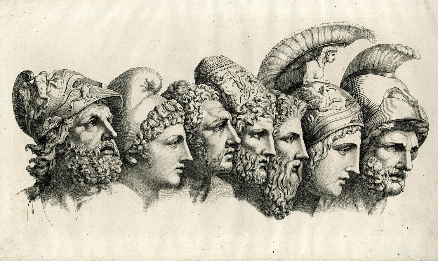 Seven heads of heroes from Homer's Iliad, Heinrich Dieterich, c.1796.