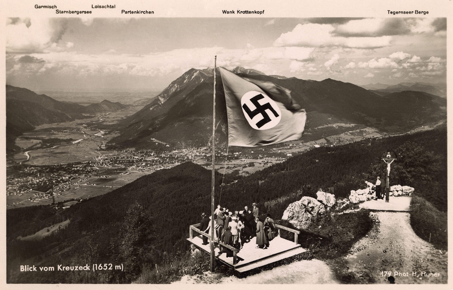 View from the Wetterstein mountain range in Bavaria, mid 1930s.