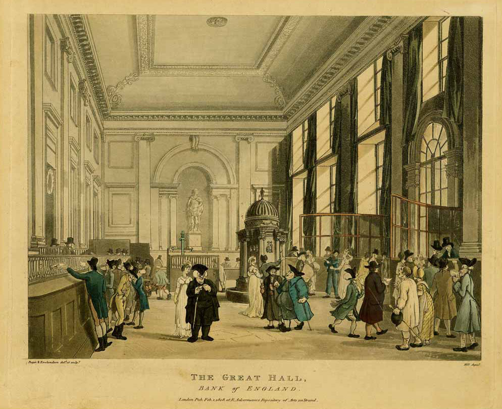 Print of the Pay Hall/Issue Office with the William III statue visible in the background. Pugin and Rowlandson, 1808.