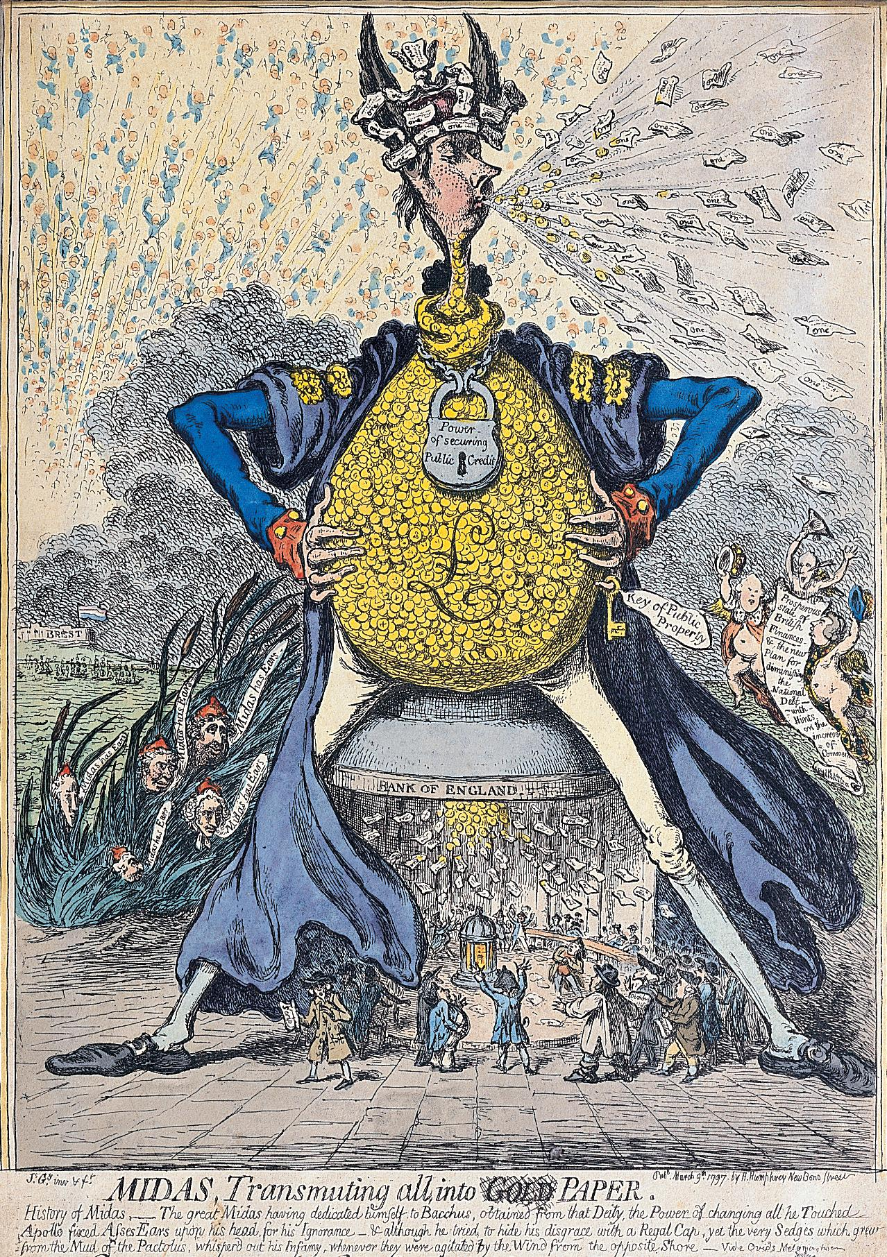 Midas, Transmuting all into Paper, James Gillray, 9 March 1797.