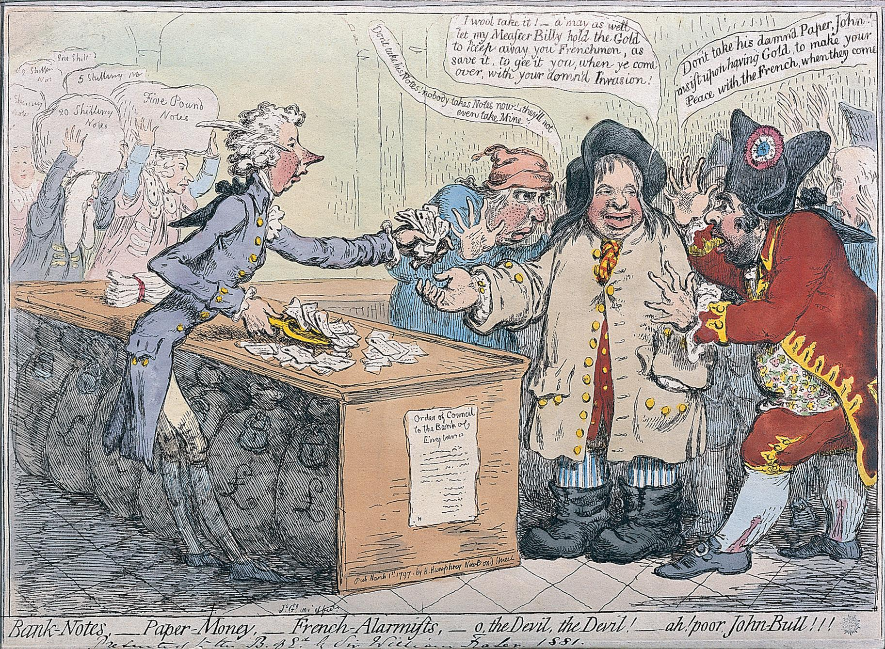 Banknotes, paper money and French alarmists, James Gillray, 1 March 1797.