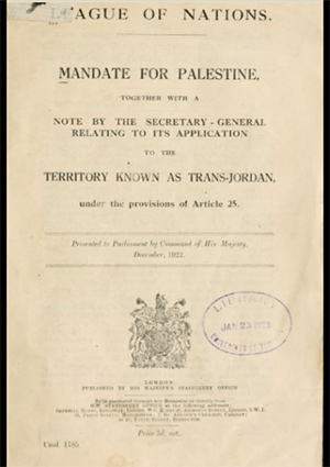 British Command Paper 1785, December 1922, containing the Mandate for Palestine and the Transjordan memorandum
