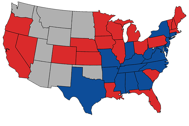 Electoral map of 1876: Republican wins in red, Democrat in blue, non-states in grey.