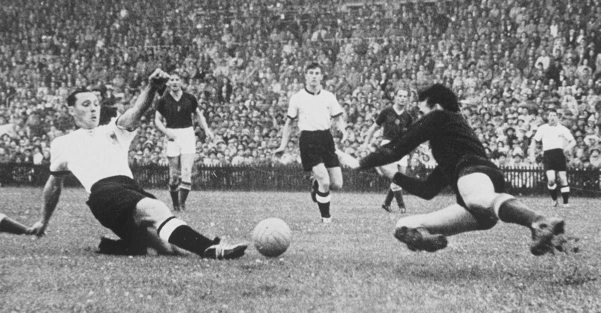 Morlock scores West Germany's first goal.
