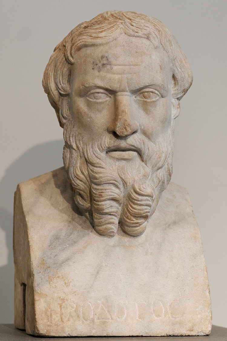 Roman copy of a Greek bust of Herodotus, 4th century BC.