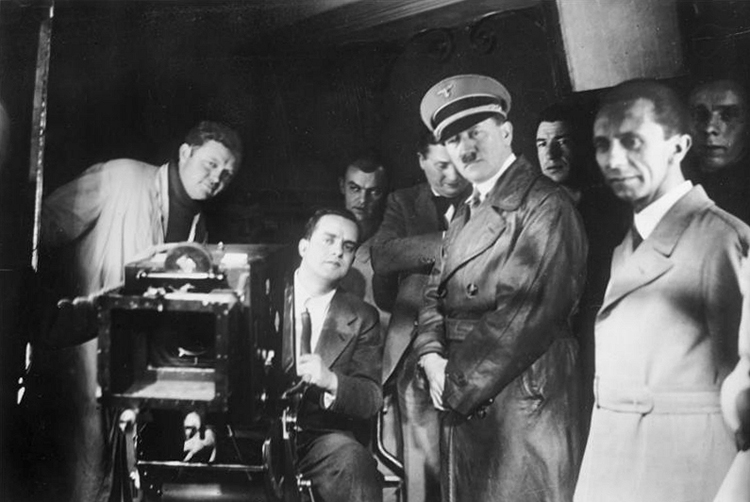 Hitler and Goebbels on the set of Barcarole, 1935.