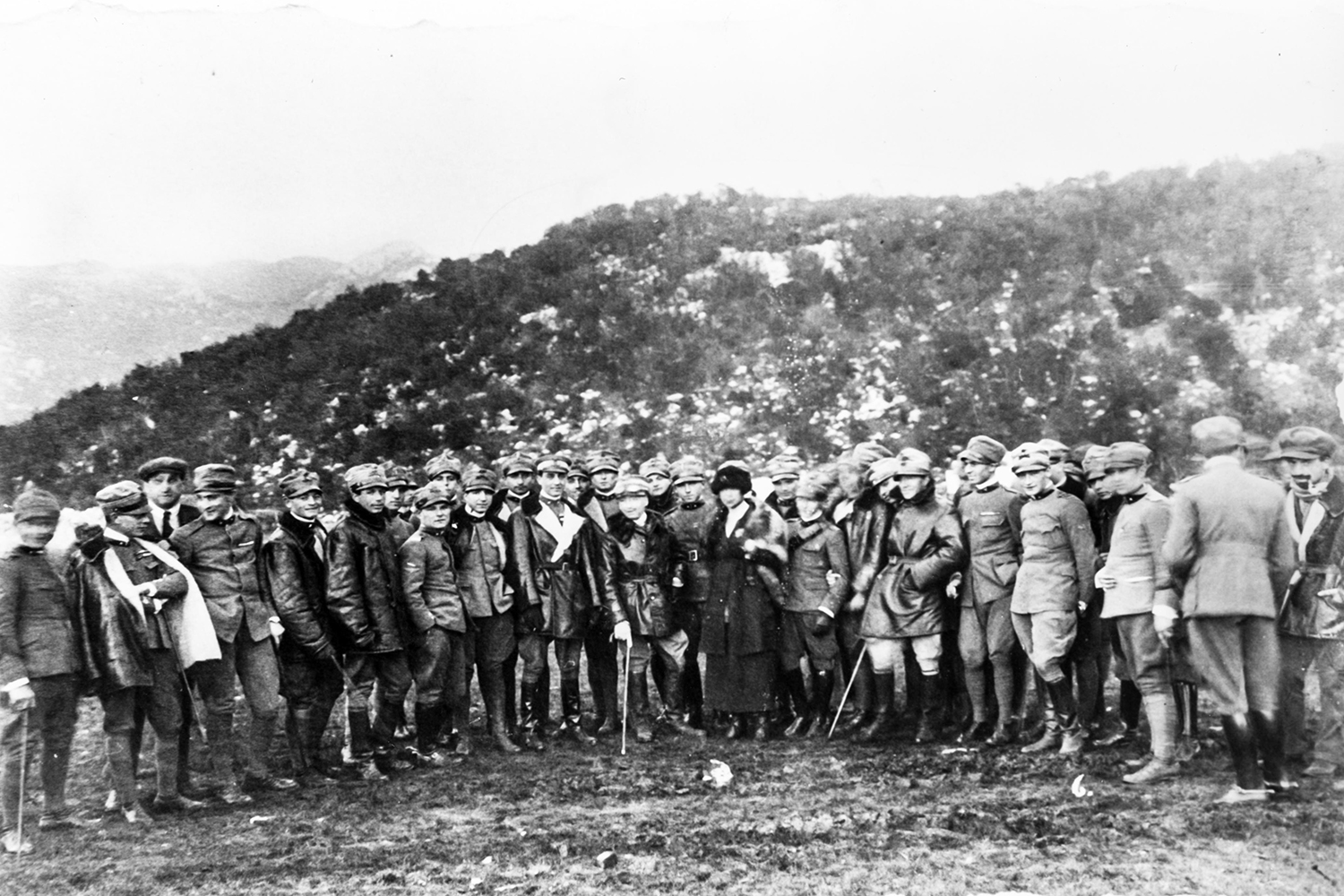 Gabriele D'Annunzio and supporters in Fiume. 1919.