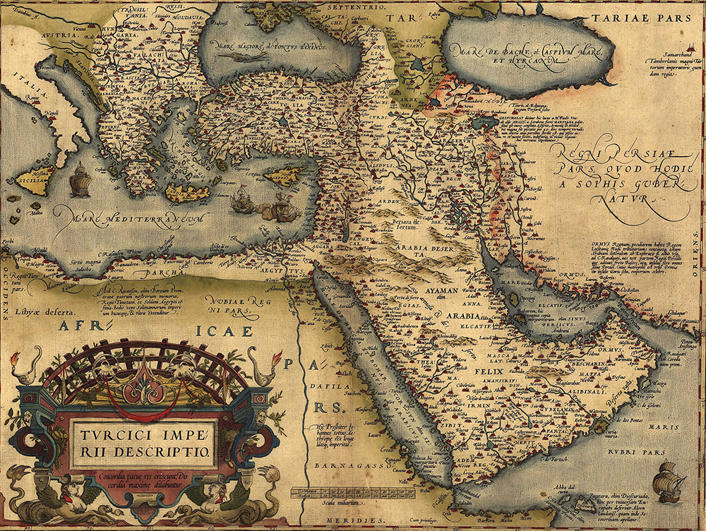 The Ottoman Empire from Abraham Ortelius' atlas, 1570. Everett Collection Historical / Alamy Stock Photo