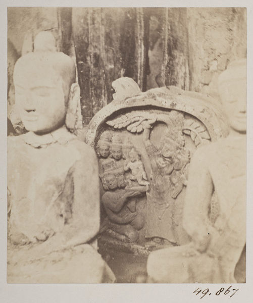 Stone statues from Angkor, 19th-century photograph.