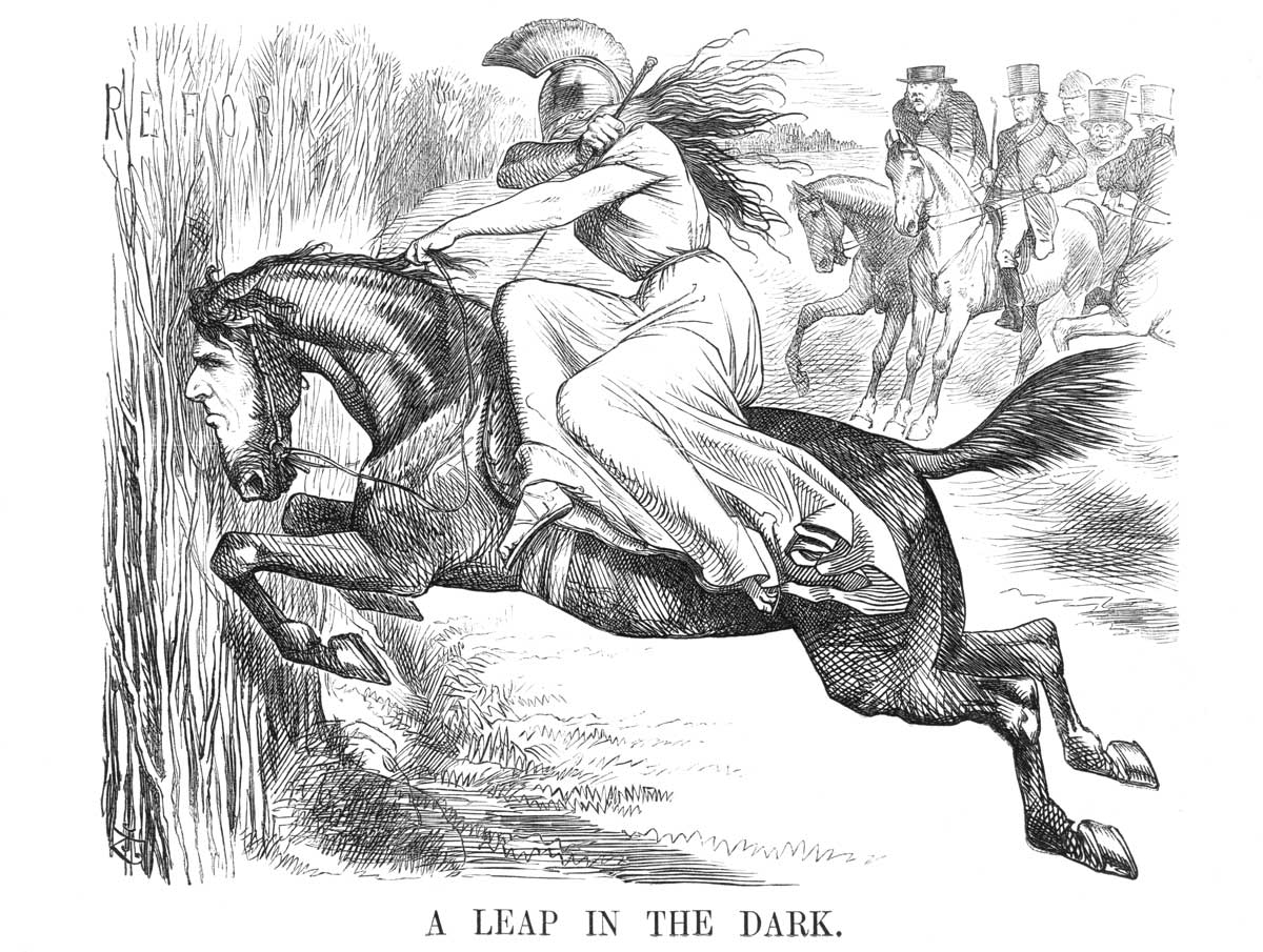 The 1867 Reform Bill: 'A Leap in the Dark', August 1867 issue of Punch. Wiki Commons.
