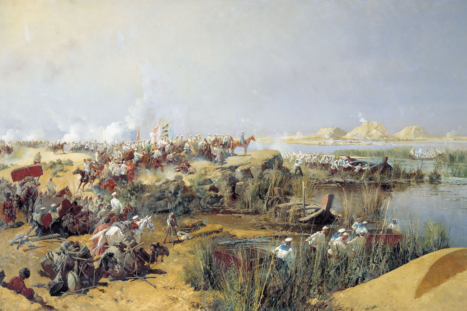 Russian Forces Crossing the Amu Darya River, Khiva Campaign, 1873, by Nikolay Karazin, 1889.