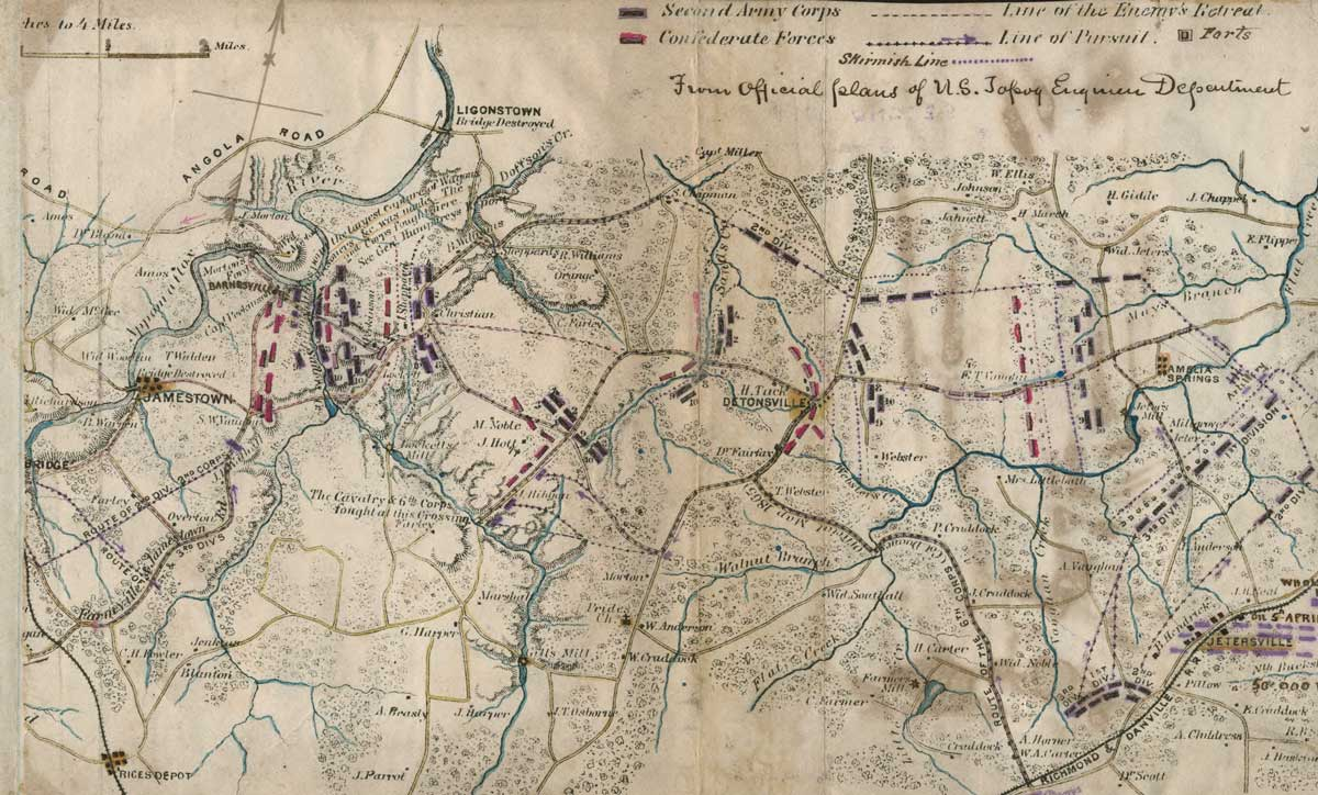 Map showing 'the pursuit of the rebel army, 6-8 April 1865, and Battle of Sailor's Creek'. Library of Congress.