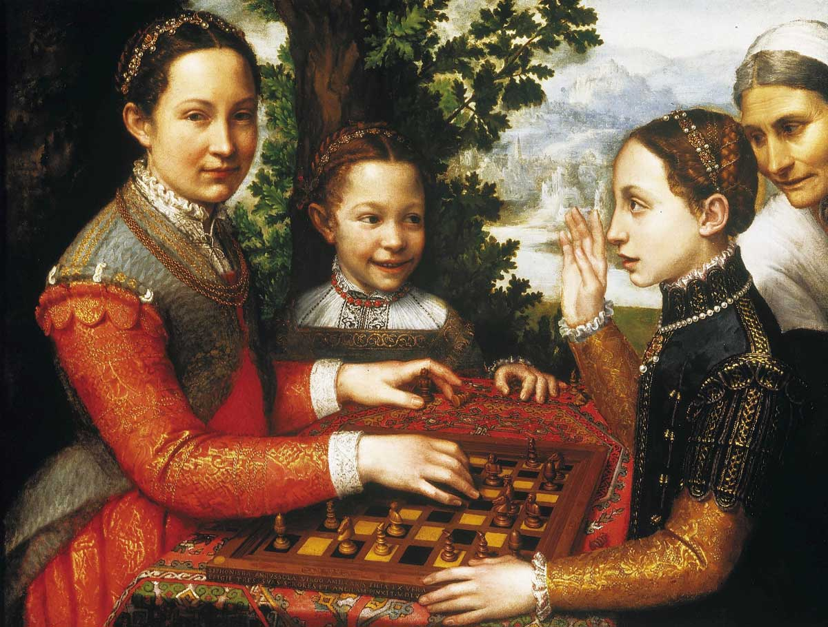 The Chess Game (Portrait of the artist's sisters playing chess), Sofonisba Anguissola, c. 1555. National Museum Poznań / Wiki Commons.