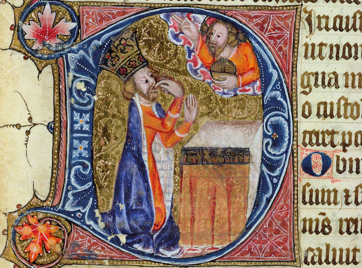 King David in an illustration for Psalm 38, from the Ramsey Abbey Psalter, c.1380 © Bridgeman Images.