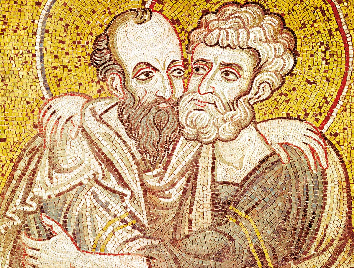Peter and Paul embracing, Byzantine mosaic, 12th century © Bridgeman Images.