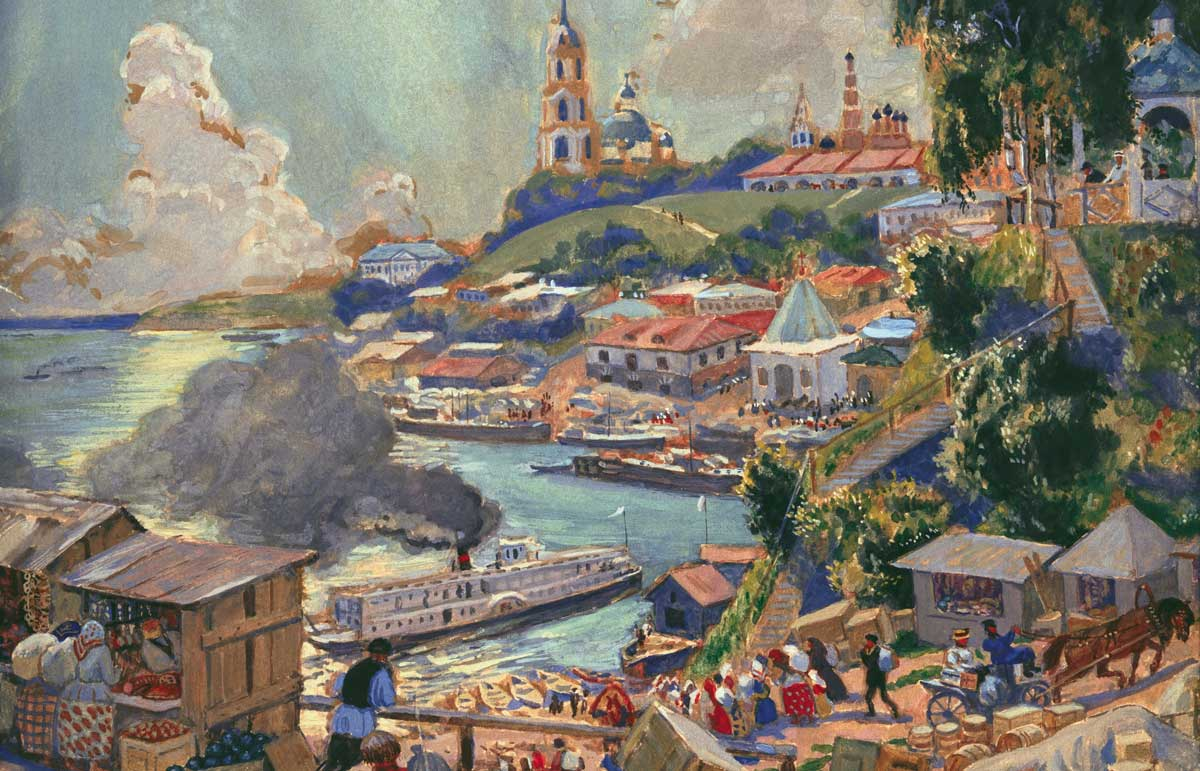 A Port on the Volga, by Boris Mikhaylovich Kustodiev, 1920 © akg-images.