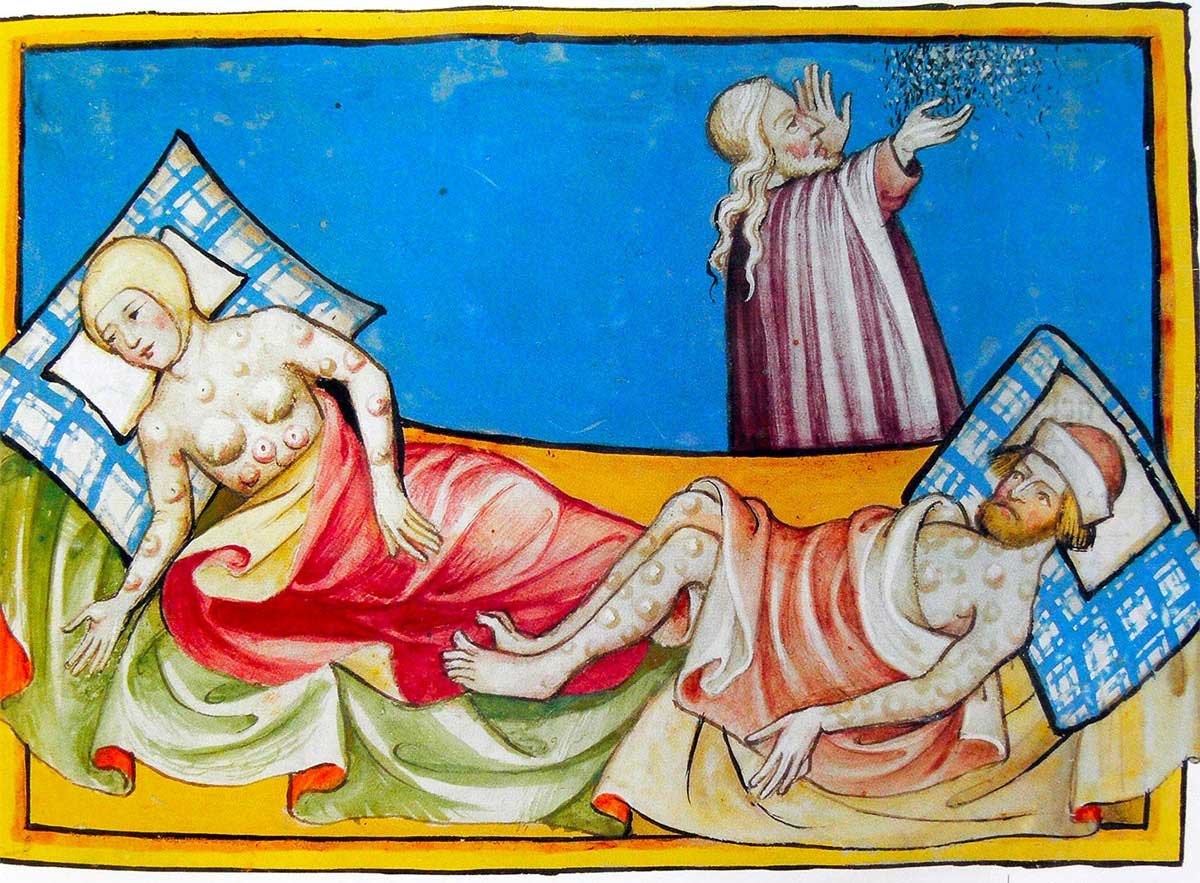 Miniature out of the Toggenburg Bible (Switzerland) of 1411. The disease is widely believed to be the plague, although the location of bumps and blisters is more consistent with smallpox.