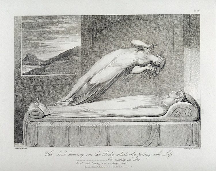 A soul parting reluctantly with life: engraving for William Blake's 'The Grave, a Poem', by Luigi Schiavonetti, 1808. (Bridgeman Images)