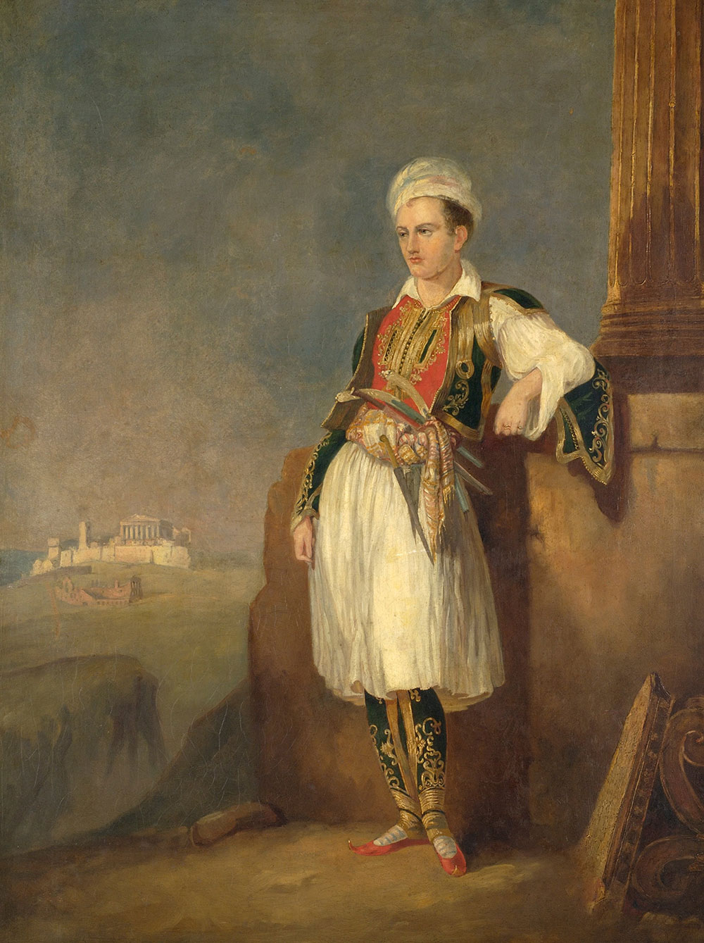 Portrait of Lord Byron in Greek costume, 1830, unknown artist.