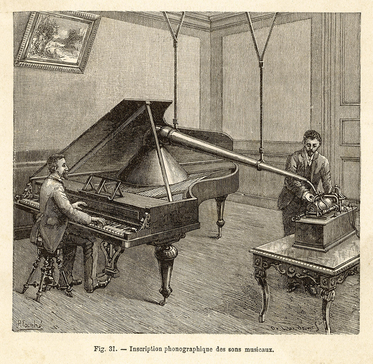 Recording a man playing the piano using the improved phonograph, 1891.