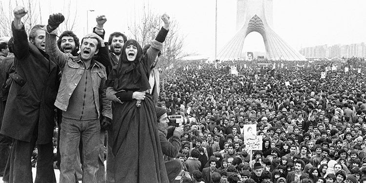 Supporters of Ayatollah Khomeini hold a demonstration in Iran during the Islamic Revolution of 1979.